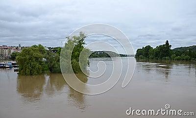 PRAGUE - JUN 4: Flooding in Prague. Swollen river Vltava. Editorial Image