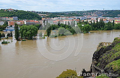 PRAGUE - JUN 4: Flooding in Prague. Swollen river Vltava. Editorial Stock Photo