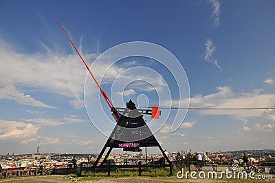 Prague metronom -  Giant Sculpture Editorial Stock Photo