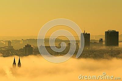 Prague in mist