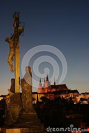 Prague at night with Jesus