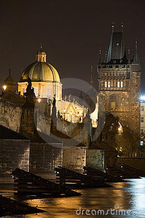 Prague night scenery