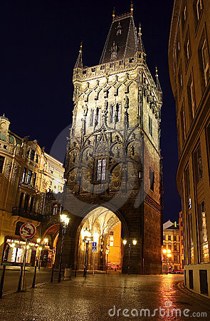 Prague night street