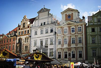 Prague. Old Buildings and stalls Editorial Stock Image