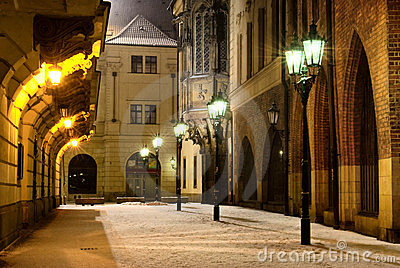 Prague Old Town street with university building at