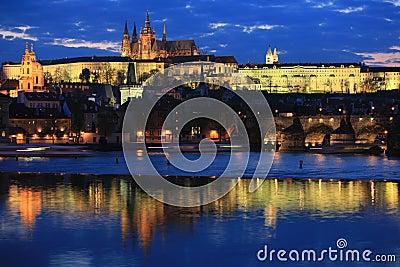 Prague panorama at night