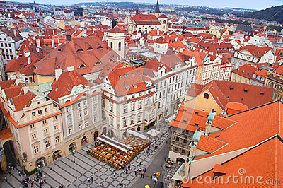 Prague panorama from Rathaus Editorial Stock Photo