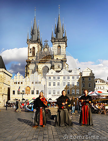 Free Prague Square People Music Royalty Free Stock Photos - 66198828