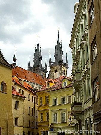 Prague street and cathedral