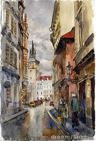 Prague street. Watercolor