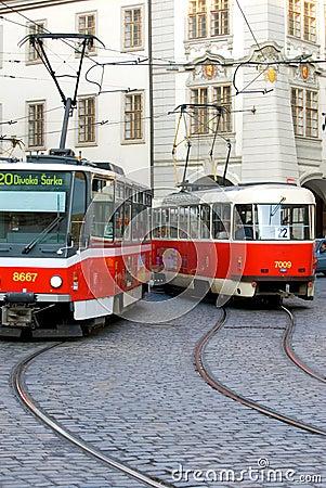 Free Prague Trolley Cars Stock Photo - 2967090