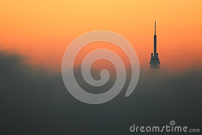 Prague TV tower at sunrise Editorial Photography