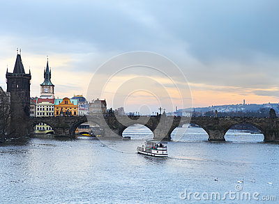 Prague at Twilight, view of Charles bridge