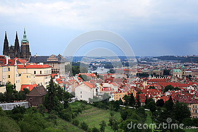 Prague Under Cloudy Sky Royalty Free Stock Image - Image: 25977736