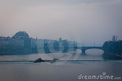 Prague under fog