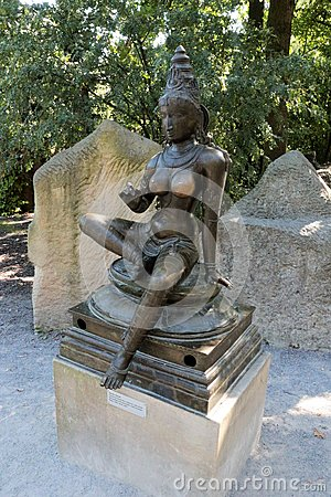 Prague Zoo - Female statue Stock Photo
