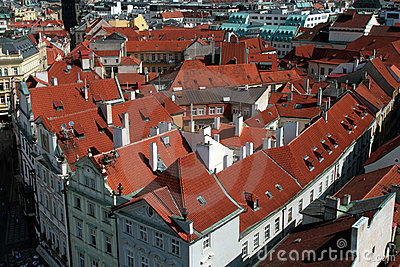 Praha - Prague, roofs the capital city of the Czech Republic