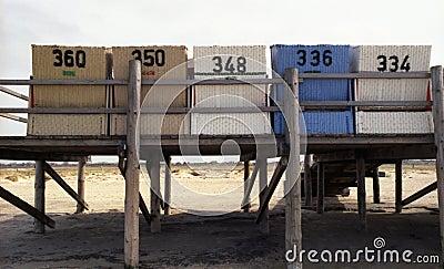 Praia-cadeiras em uma plataforma de madeira 2