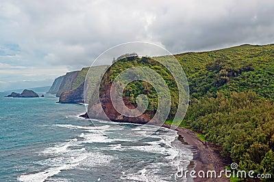 Praia do vale de Polulu no console grande em Havaí