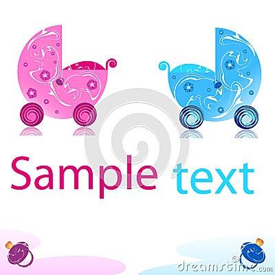 Free Pram In Vector Royalty Free Stock Image - 10100096