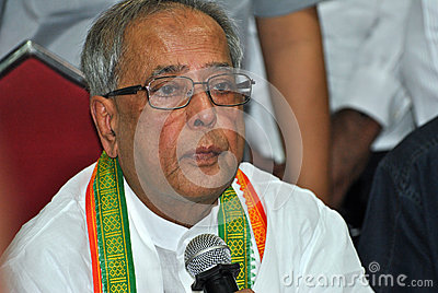 Pranab Mukherjee Speaks to Media Editorial Image