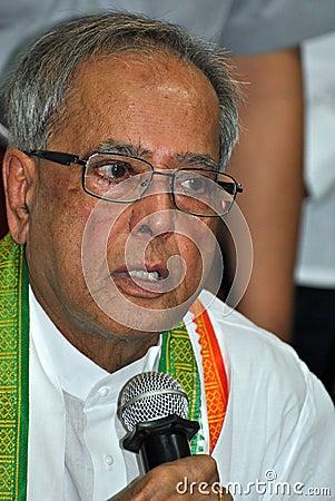 Pranab Mukherjee Speaks to Media Editorial Stock Image