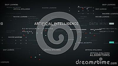 Prata da inteligência artificial das palavras-chaves ilustração stock