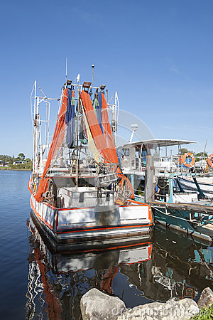 Prawn boat with nets drying.