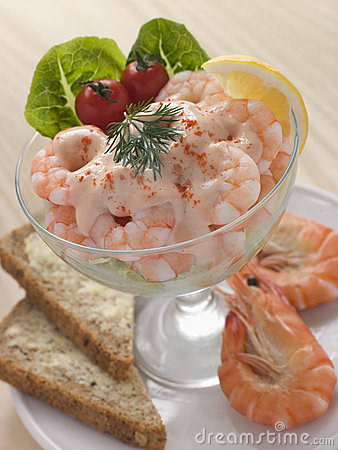 Free Prawn Cocktail In A Glass With Brown Bread Royalty Free Stock Photography - 5629937
