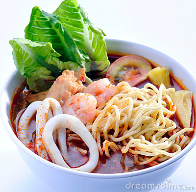 Prawn noodle asia food