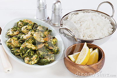 Prawn Saag Indian Curry with Basmati Rice