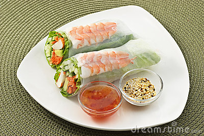 Prawn salad sushi roll