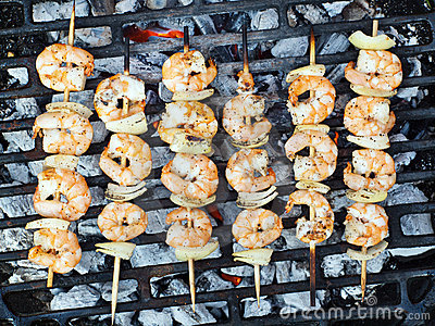 Prawn Skewers Royalty Free Stock Photography - Image: 19263387