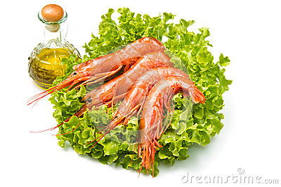 Prawns on fresh salad
