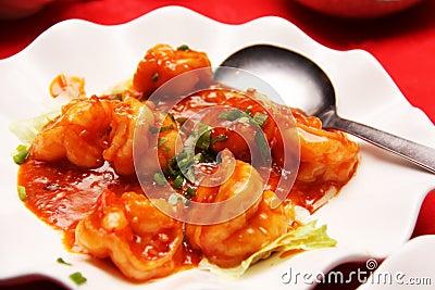 Prawns with red chili sauce