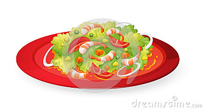 Prawns salad in red dish