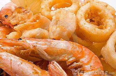 Prawns and squid