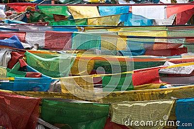 Pray flags in Tibet