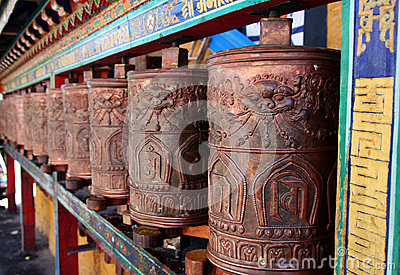 Pray wheels in tibet