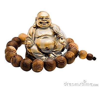 Prayer bead around laughing buddha