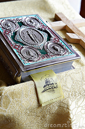 Free Prayer Bible And Wooden Cross On Table In Church Royalty Free Stock Photography - 19068247