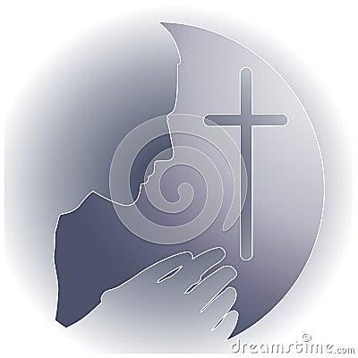 Prayer Cross Logo Silver White
