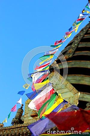 Prayer flag cord in Boudhanath Stupa