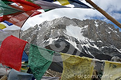 Prayer flags with Himalaya in the background