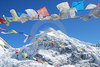 Prayer Flags with mountain background