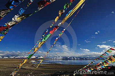 Prayer flags near Heavenly Lake Namtso