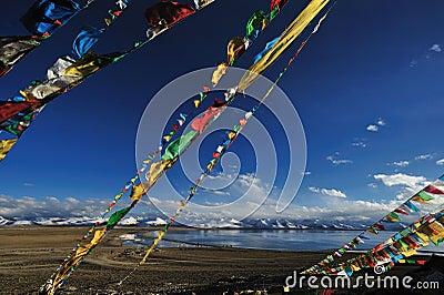 Prayer flags near Heavenly Lake Namtso