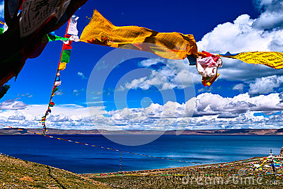Prayer flags over lake nam