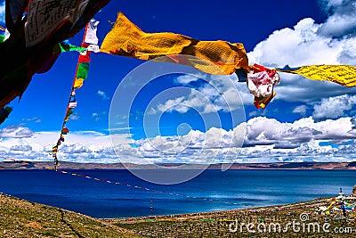Prayer flags over lake nam