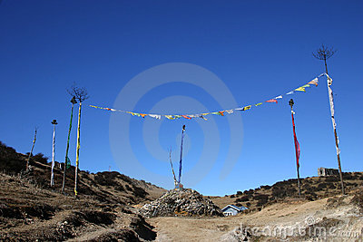 Prayer flags and prayer stones, northeast India